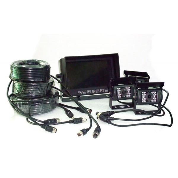 Achteruitrijcamera 3 x HD systeem, 7 inch kleurenmonitor bedraad
