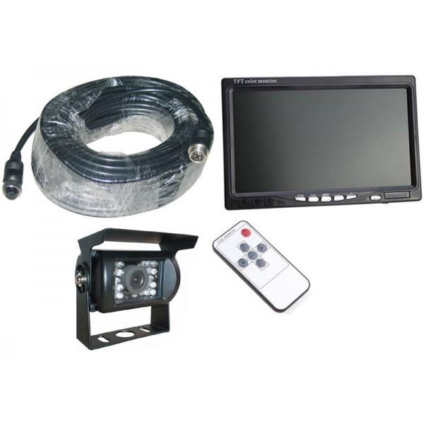 Achteruitrijcamera systeem + 7 inch kleurenmonitor 4-pin bedraad