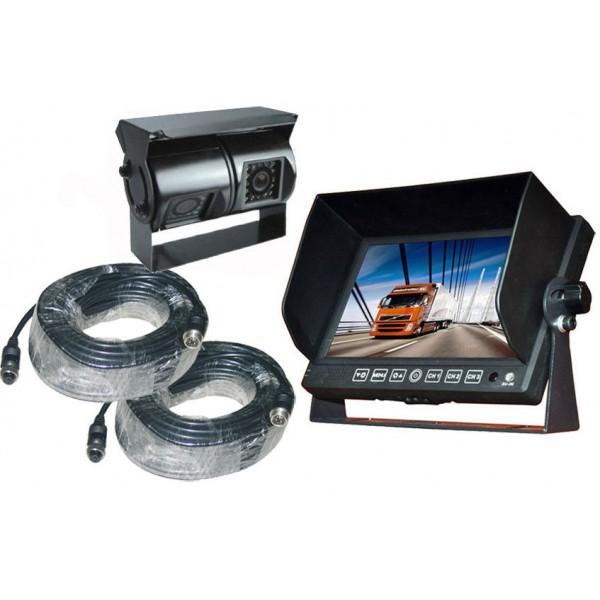 Achteruitrijcamera set 7 inch HD monitor + Dual camera zwart