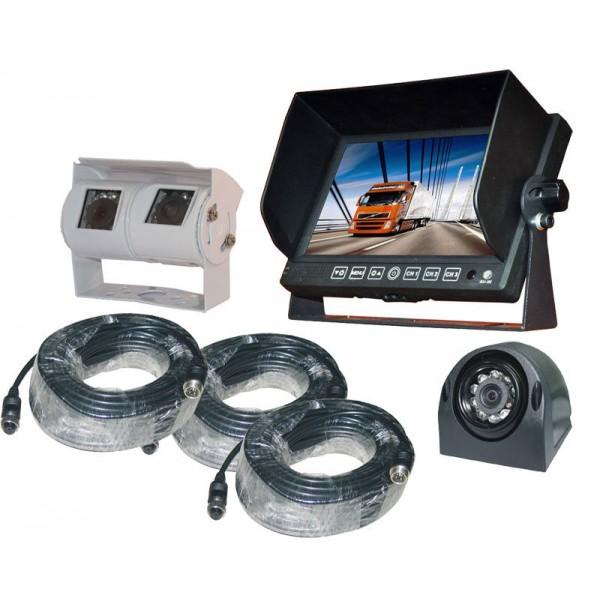 Achteruitrijcamera set 7 inch HD monitor zij + Dual camera